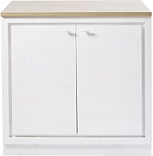 Mueble bajo de cocina blanco con 2 puertas