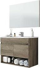 Mueble baño con espejo 2 puertas y hueco abierto