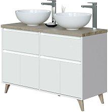 Mueble baño doble color roble y blanco 2 cajones