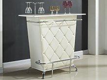 Mueble bar CLAY - Piel sintética y strass - Blanco