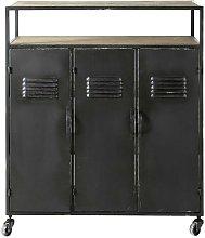 Mueble bar industrial con ruedas de metal gris
