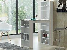 Mueble bar SKARN - Blanco y tablero con efecto