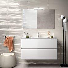 Mueble de baño 100 cm de madera lacado blanco