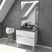 Mueble De Baño Blanco 80Cm - Con Cajones - Lavabo
