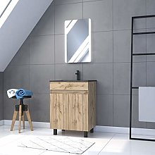 Mueble de baño con 2 puertas/lavabo/espejo LED,