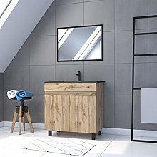 Mueble de baño con 2 puertas/lavabo/espejo negro,