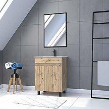 Mueble de baño con 2 puertas, lavabo y espejo, 60