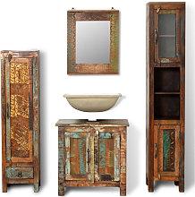 Mueble de bano de madera reciclada con espejo y