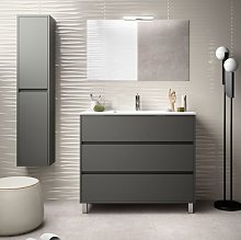 Mueble de baño de pie 100 cm de madera Gris Mate