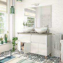 Mueble de baño de pie 120 cm Blanco Brillante y