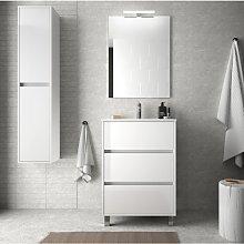 Mueble de baño de pie 60 cm en madera Blanco