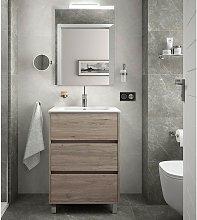 Mueble de baño de pie 60 cm en madera Roble