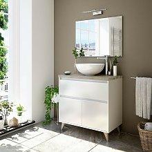 Mueble de baño de pie 80 cm Blanco Brillante y