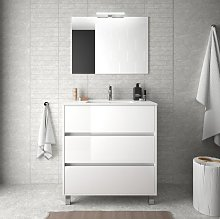 Mueble de baño de pie 80 cm de madera Blanco