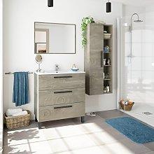 Mueble de baño de pie 80 cm Roble con 3 cajones y