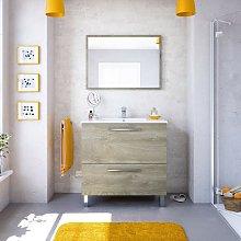 Mueble de baño de pie 80 cm roble con espejo y