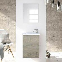 Mueble de baño suspendido 40 cm Roble con espejo