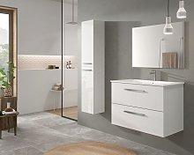 Mueble de baño suspendido 80 cm lacado blanco