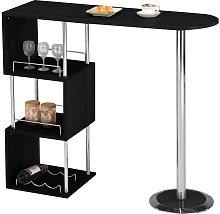 Mueble de bar ALISETO - MDF y metal cromado - Negro