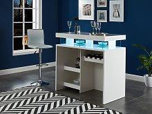 Mueble de bar FABIO - MDF lacado blanco - Leds