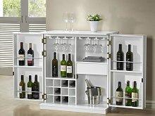 Mueble de bar GORDON - Hevea & MDF - Blanco