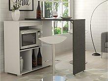 Mueble de bar pivotante SATURNE - Blanco y cemento