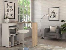 Mueble de bar pivotante SATURNE - Blanco y roble