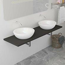 Mueble de cuarto de baño gris 160x40x16,3 cm -