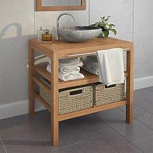 Mueble de lavabo con 2 cestas madera teca maciza