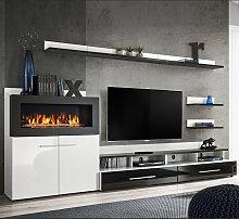 Mueble de salón con chimenea Erica blanco y negro