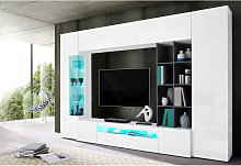 Mueble de salón Made in Italy, con luz LED azul,