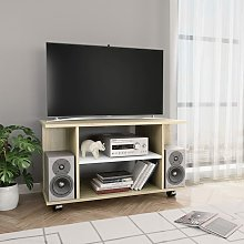 Mueble de TV con ruedas aglomerado blanco y Sonoma