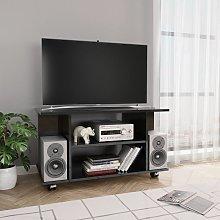 Mueble de TV con ruedas aglomerado negro brillante