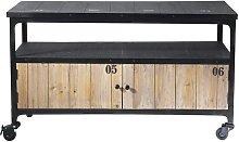 Mueble de TV industrial negro con ruedas de metal