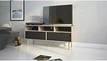 Mueble de TV para salón 147 cm Negro Mate y Roble