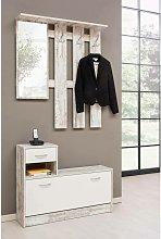 Mueble de vestíbulo con espejo y zapatero, madera