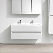 Mueble lavabo + lavabo 120cm MONTADO Lacado Blanco