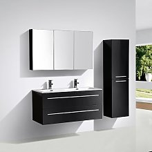 Mueble lavabo + lavabo 120cm MONTADO Lacado Negro