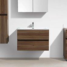 Mueble lavabo + lavabo 80cm MONTADO SIENA NOGAL