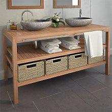 Mueble lavabo tocador madera teca maciza 4 cestas