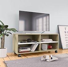 Mueble para TV con ruedas aglomerado blanco y