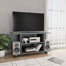 Mueble para TV con ruedas aglomerado gris 80x40x40