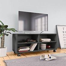 Mueble para TV con ruedas aglomerado gris 90x35x35