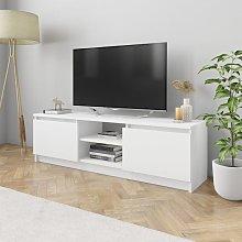 Mueble para TV de aglomerado blanco 120x30x35,5 cm