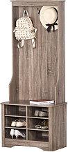Mueble recibidor con perchero y zapatero de madera