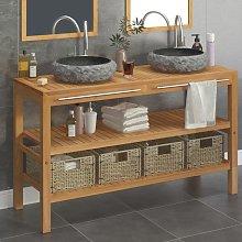 Mueble tocador madera maciza teca con lavabos de