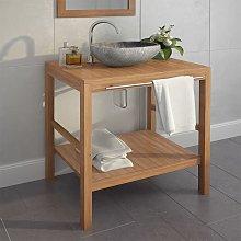 Mueble tocador madera teca maciza con lavabo de