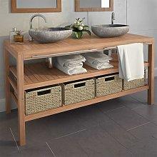 Mueble tocador madera teca maciza con lavabos de