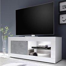 Mueble TV COMETE - LEDs - 1 Porte - Blanco lacado