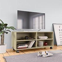 Mueble TV con ruedas aglomerado color roble Sonoma